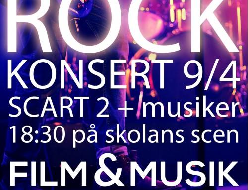 Rockkonsert 9/4 kl. 18.30 på skolan